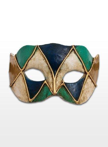 Venezianische Mini Maske zur Dekoration Colombina Harlekin blau-grün (Commedia Dell'arte Colombina Kostüm)