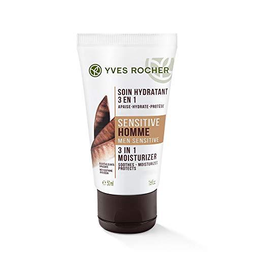 Yves Rocher SENSITIVE HOMME 3in1 Feuchtigkeitspflege, Gesichtscreme für Männer, für die empfindliche Haut, 1 x Tube 50 ml