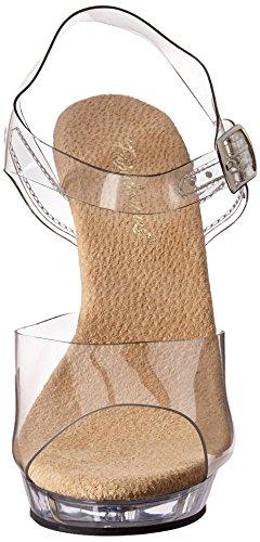 Pleaser Lip108/c/m, Sandales Femme Multicolore (Clear/Tan)