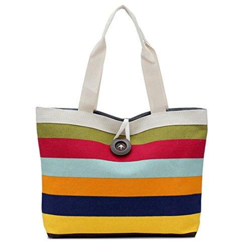 Oyedens Frauen Farbige Streifen Handtasche Schulter Tasche Taschengeldbeutel Einkaufen Rot