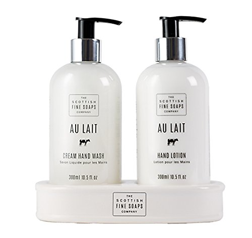 Scottish Fine Soaps Au Lait Hand Care Set (Hand Wash, Lotion and Ceramic Bottle Stand)