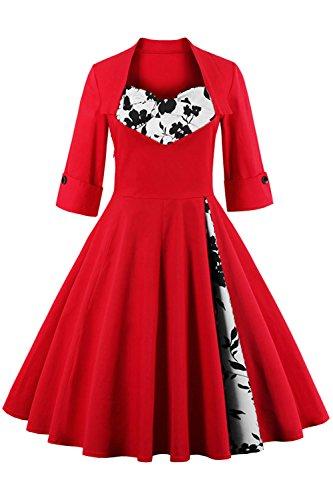 Babyonline Sommer Damen Polka Dots Kleider Vintagekleid Rockabilly Kleid Partykleider S-5XL, Rot mit Blumen, 5XL