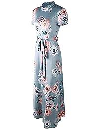 3fe35f74d04f Yusealia Abito Donna Estivo Eleganti da Cerimonia Vestito Donna Lungo  Girocollo,Stampa Floreale Abiti per Spiaggia Sposa Vestiti Donna…