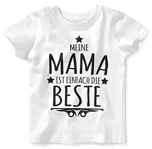 Mikalino Baby/Kinder T-Shirt mit Spruch für Jungen Mädchen Unisex Kurzarm Meine Mama ist einfach die Beste | handbedruckt in Deutschland | Handmade with Love, Farbe:Weiss, Grösse:80/86 (Mama Kleinkind Kostüm)