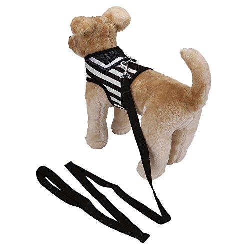 Mogoko Haustier Hunde Verstellbar Harness Hundegeschirr Welpengeschirr Softgeschirr Brustgeschirr Kleidung für kleine Hunde Katze Weste Geschirr mit Leine Set gestreiftes Matrosendesign-Geschirr mit Leine im Set, Netzstoff, Gepolstert (M, Schwarz) - 7