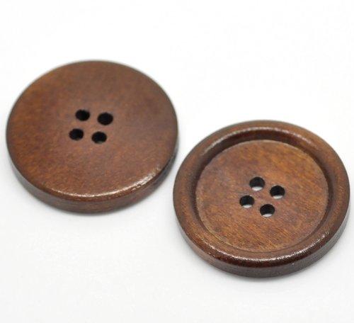 30 Botones redondos de madera 30mm
