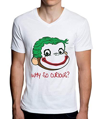 Why So Curious? Funny Monkey Herren V-Ausschnitt T-Shirt ()