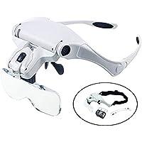 LED Lupa Gafas con Luz Manos Libres Cabeza Lupas de Aumento para Extensión de Pestañas,de Reparación Relojes,Costura,Manualidades,5 Lentes Intercambiables,1X-3.5X