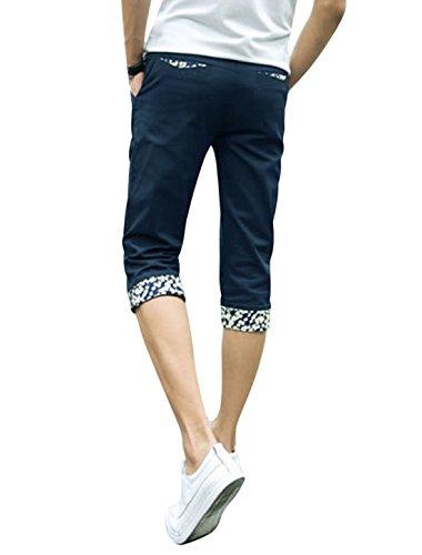 sourcingmap Hommes Taille Moyenne Braguette Zip Fermeture Bouton Poches Décontracté Corsaire Pantalon Bleu Marine