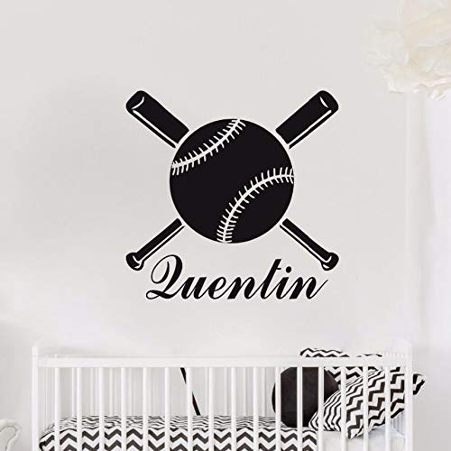Zhuhuimin Personalisierte Wandtattoos Vinyl Benutzerdefinierte Name Baseballschläger Vinyl Wandaufkleber Baby Kinderzimmer Dekor Baseball Sport Wandbild 42x41 cm