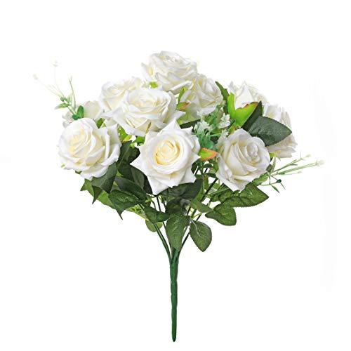 Veryhome Künstlich Rose Seide Rose Blumenstrauß Gefälschte Blume Hochzeit Dekoration Geburtstag Garten Party Blume Weiß 12Blütenköpfe