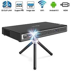 TOUMEI T5 Pico Projecteur, 200 ANSI Lumens Mini Projecteur, Videoprojecteur Portable DLP Android Home Cinéma, Soutien 1080P 4K HDMI 3D DLP-Link, Compatible avec La Clé Fire TV / PS3 / PS4 - Noir