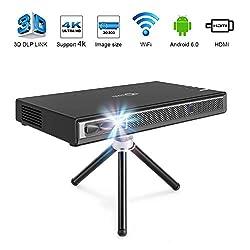 TOUMEI T5 Mini Projektor, 200 ANSI Lumens Mini Beamer, WiFi Heimkino Android DLP Pocket Projektor, Unterstützung 1080P 4K HDMI 3D-DLP-LINK, Kompatibel mit Fire TV Stick / PS3 / PS4 - Schwarz