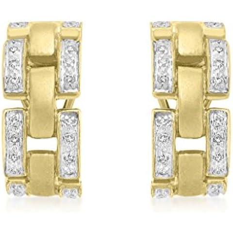 9ct oro giallo Diamante link Orecchini