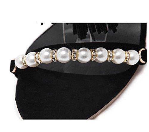 WZG Les nouveaux talons pendentif pompon perles de sangle sandales talons femelles élevées Black