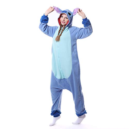 Für Erwachsene Stitch Kostüm - Chenrry Pyjamas Tieroutfit Schlafanzug Snorlax Tier Onesies Weihnachten Sleepsuit mit Kapuze Erwachsene Unisex Overall Halloween Kostüm Stitch L
