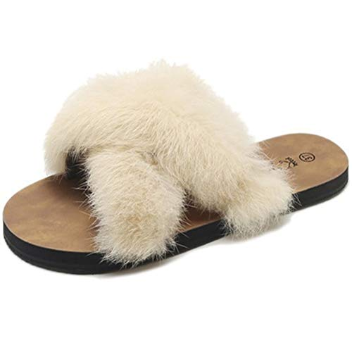 Enfei Womens Slides Cross Sandals with Faux Fur Comfort Fuzzy Flip Flop Open Toe Slippers Indoor Outdoor Slip on -