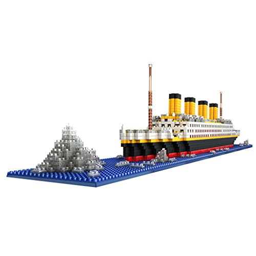 SM SunniMix 1860-teilige 3D Puzzle Bausteine Titanic Schiffs- und Boots Modell, Tolles Geschenke für Erwachsene und Kinder (Titanic Boot Modell)