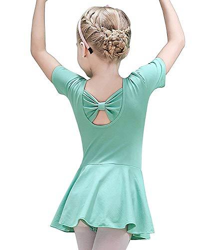 Uni-Wert Mädchen Ballettkleid Kurzarm Baumwolle Tutu Balletttrikot Ballettanzug Tanzkleid Tanzbody Kinder Ballettkleidung Ballettbody mit Röckchen Gr. 100-150 (Tanz Werte Kostüme)