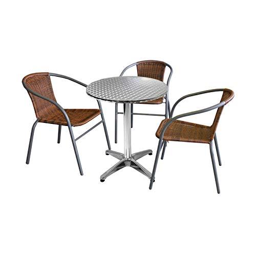 Wohaga 4tlg. Bistro- und Balkongarnitur Tisch Ø60cm Silber + 3 Polyrattan-Stapelstühle Grau/Cappuccino Gartengarnitur Balkonmöbel Terrassenmöbel Set Sitzgruppe -