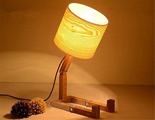 BZJBOY Lampada da Scrivania Lampada da tavolo in legno curvato moderni paralumi in legno fatti a mano di acqua LED solido telaio in legno soggiorno camera da letto scrivania Lampada da tavolo Luce