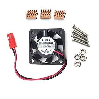 AptoFun Lot de 3 dissipateurs de Chaleur en cuivre + Ventilateur pour Raspberry Pi 3/2 Model B+/ Model B