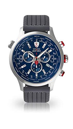 DETOMASO AURINO Uomo Orologio Cronografo Analogico Cinturino in silicone grigio quarzo quadrante blu DT1061-C-772