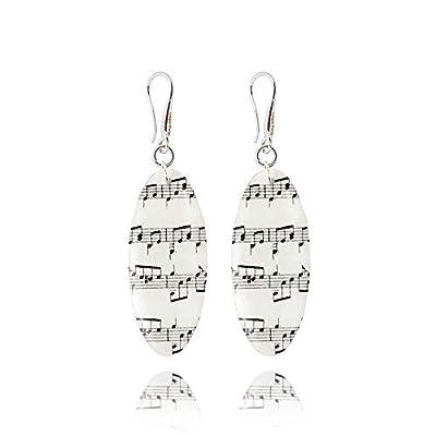 Belles Boucles d'Oreilles Notes de Musique de couleur Noir et Blanche avec Clé Musicale; Cadeau Amusant Anniversaire pour Femme;