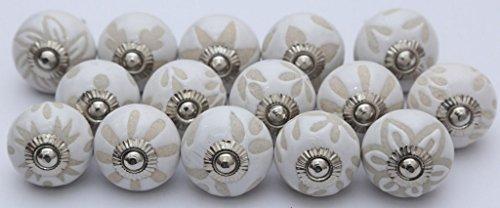 Welt Schublade Knöpfe (indischen Knöpfe Lot von 10Vintage weiß Keramik handgemalt Küche Schrank Schublade zieht Knöpfe 10)