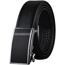 Cinturón de cuero, Boshiho moda hombres de piel auténtica trinquete hebilla automática cinturón–talla única ajustable cinturón