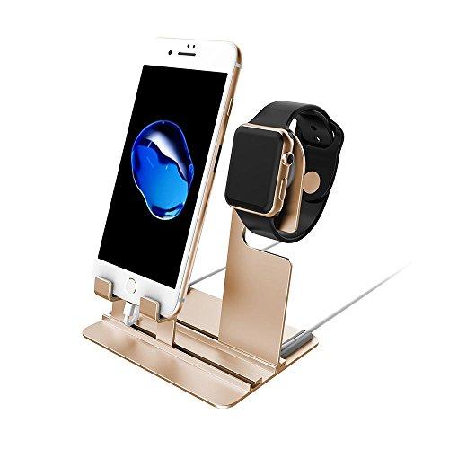Phone stand, Teepao 2 in 1 desktop tablet Supporto e orologio intelligente di ricarica e supporto con regolabile cantina per i Watch i Phone 6 6S 7 Plus 8 x Series 1 2 3 per i Pad Tablet Rose Gold