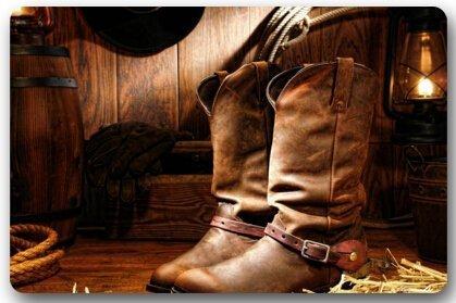 American West Rodeo Cowboy Black Felt Hat Atop Worn Western Boots Vintage Style Rectangle Entryways Non Slip Doormat Floor Mat - 40 X 60cm, Western Non-slip