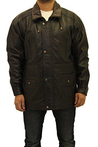 Hommes 3/4 Longueur 100% Cuir Parka Classic manteau d'hiver Noir
