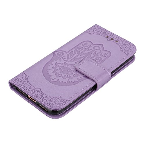 JIALUN-étui pour téléphone Housse en cuir Flip Case Housse en cuir PU avec sac à main et cordon et Kickstand pour iPhone 7 ( Color : Green ) Purple
