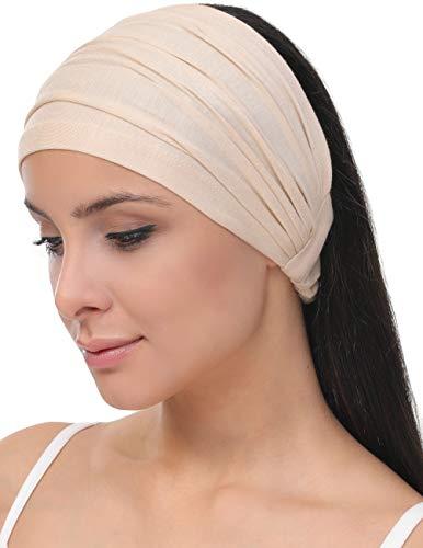 Deresina Elastisches dehnbares Stirnband, Haarband für Haarausfall (Beige)