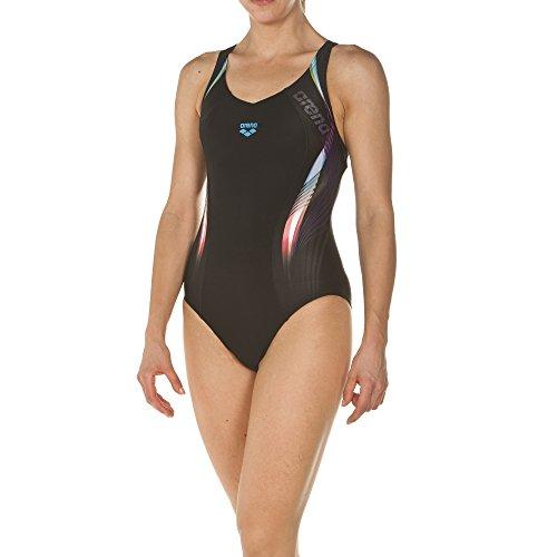 arena Damen Sport Badeanzug Fluency (Schnelltrocknend, UV-Schutz UPF 50+, Chlor- /Salzwasserbeständig), Black-Turquoise (508), 36