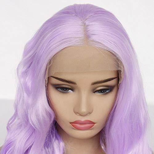 FACAT Cheveux Perruque Naturel 40 Puces,Purple Wig Lady Mid Split Long Bangs Big Wavy Wig-12 Pouces, Mode Glamour Perruque avec