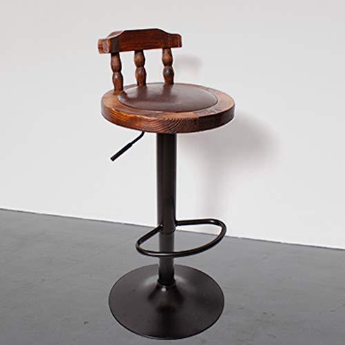 Xueyan xx sgabello girevole della sedia dello sgabello da bar di legno solido solido, retro sgabello da bar, sedia creativa, (colore : marrone scuro)