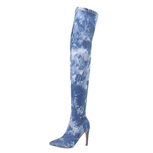 Bleu Santiags Femme Au Dessus du Genou Mode Haut Talon Lacent Bottines Zippé Talon Compense Femmes Imprime Fleuri (41 EU(42 CN), Bleu)