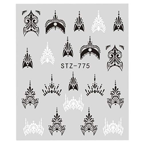 LXYQW Nagelsticker Nagelaufkleber Volle Schönheit Spitze Halskette Wasser Abziehbilder Nail Art Sticker Hexe Schwarze Blume Wasserzeichen Transfers Sliders Dekoration