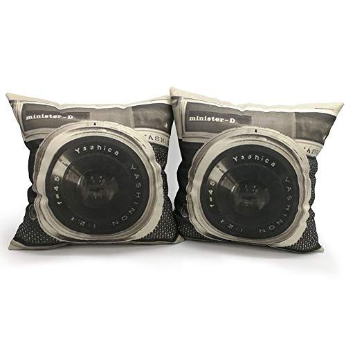 YNester 2 Retro Kamera Überwurf Kissen, Vintage Leinen Quadratisch Kissenbezug Dekorative Kissenbezüge mit Verstecktem Reißverschluss für Home, Wohnzimmer, Schlafzimmer, 45 x 45cm, 18inch Schwarz -