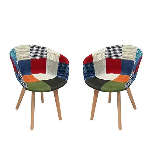 Esszimmerstühle Set von 2 Sofa Sesseln Nordic Massivholz Schlicht Modern Freizeit Sessel Kaffee Stuhl Retro Stil Balkon Lounge Stuhl Modern Dining,Stil Patchwork Klassisch skandinavischer Stil