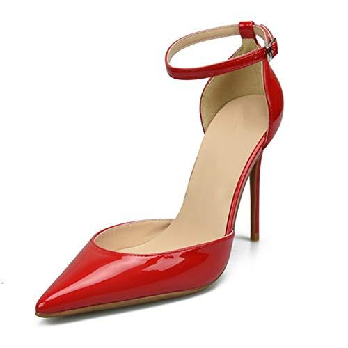 Moreforlove Knöchelriemen Sandalen für Frauen Stöckelschuhe mit hohem Absatz Spitze Zehe Patent PU Seiten geschnitten Schuhe für Damen Elegant (Color : Rot, Size : 32 EU) -