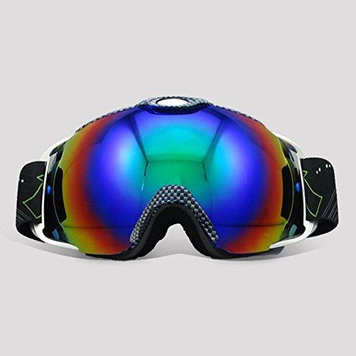 JING Männer und Frauen Anti-Fog Ski Gläser Outdoor Bergsteigen Doppelschichtige Brille Große Kugel Sonnenbrillen für Skifahren und Klettern, Lattice Black