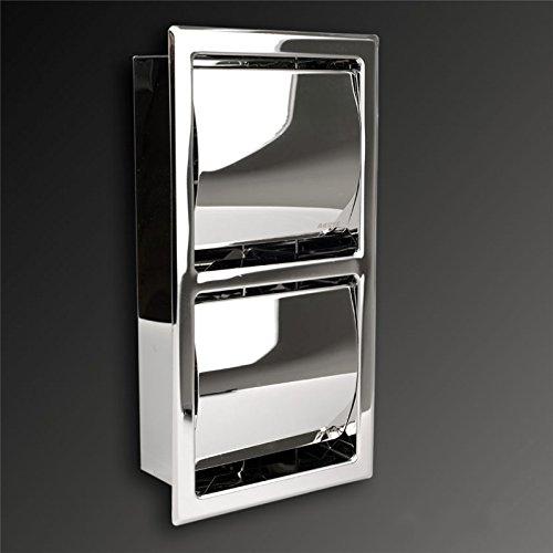 Toilettenpapierhalter aus hochwertigem Edelstahl, hochglänzend, Unterputz zum Einbau, Platzsparend, Twin Doppel Vertikal Senkrecht