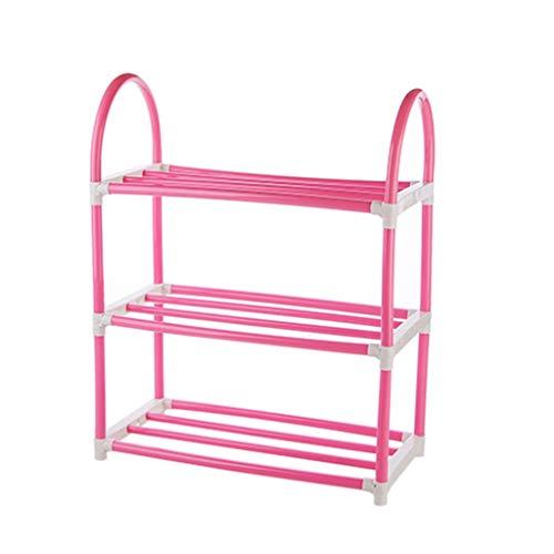 Kunststoff 3-tier Shoe Rack,platzeinsparung Dauerhaft Schuhregal Eingangsbereich Lagerung Stabil Regale Für Schuhe Aufbewahrungs-rosa 42x20x53cm(17x8x21inch) - 3-tier Shoe Rack