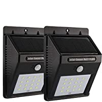 2 x 16 LED Solar Powered Motion Sensor Wall Lights