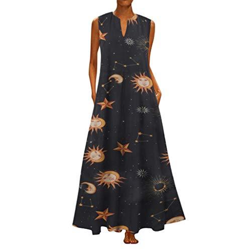 iYmitz Damen Vintage Maxikleid Daily Casual ärmellose Gestreifte Schmetterling Gedruckt Sommerkleid(X11-Orange,EU-44/CN-4XL) - Schmetterling-print-rock
