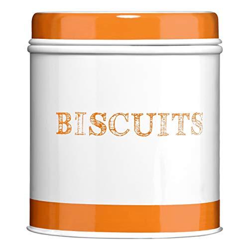 Premier Housewares 0507920 Boîte à Biscuit en Acier Galvanisé Blanc avec 2 Bandes en Orange