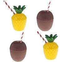 Gazechimp 4 Pedazos Copa Diseño con Piña + Coco con Pajas Tazas para Bebidas Tropicales Zumo Adornos Decorativos de Fiesta de Verano Hawaiana
